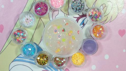 创意手工diy:水果系亮片水晶泥,超级解压不粘手,无硼砂