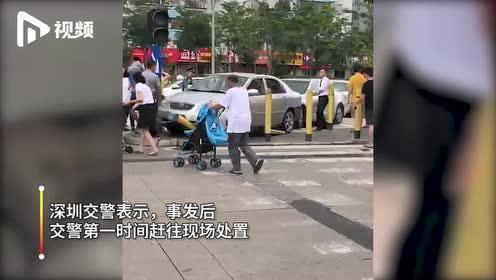 深圳南山一公务车与小车追尾,导致小车冲上安全岛,多名路人受伤