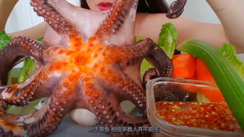 美女直播吃大章鱼,放进嘴里就开始猛嚼
