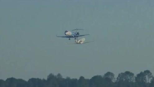 实拍支线客机法兰克福机场起飞了。