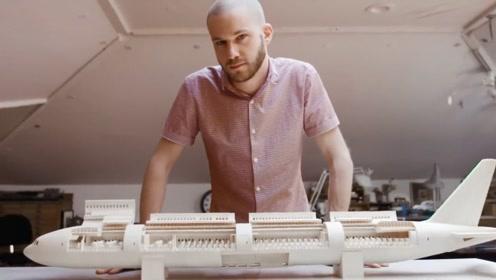 创造奇迹的手工达人:男子用纸做出等比例波音777客机模型