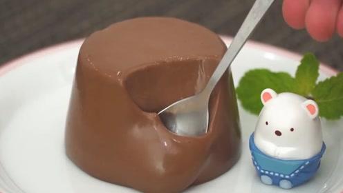 """超顺滑的巧克力布丁,口感不比""""生巧""""差,用杯子就能做"""