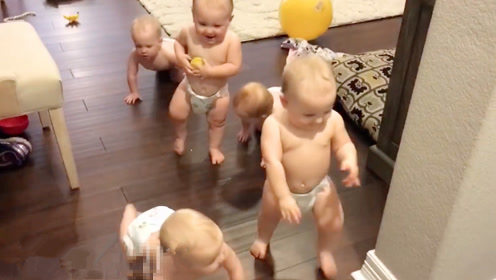 听到老爸回家,5胞胎爬着列队迎接,这画面萌炸了