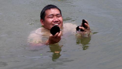 鱼塘水太深,小农乡冒险去抓野味,这种黑黑的野味,你们敢吃吗?