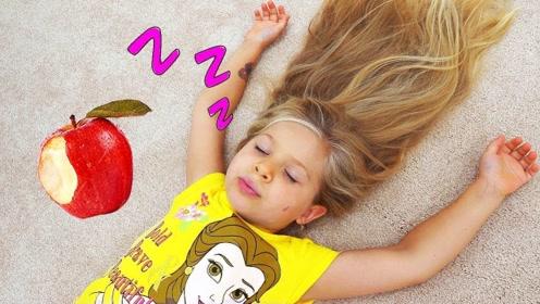 小萝莉躺床上睡着了,哥哥跑来想和她玩,拿玩具叫醒她