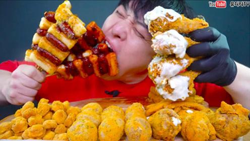 小伙真是能吃,鸡腿奶酪土豆球,2分钟全部吃完