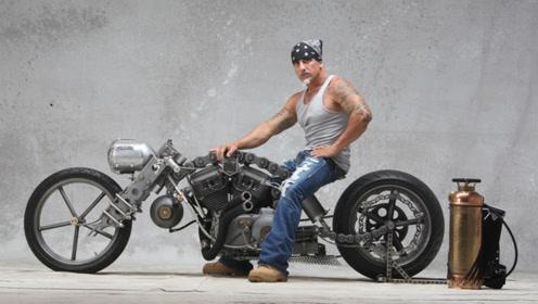 这才是骨灰级车迷的最爱,RK链条自制重机车,上路得带个油箱!