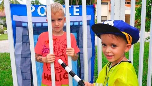 """男孩是个""""采花大盗"""",正义小警察前来阻止,并将他关进了监狱"""