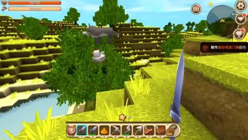 迷你世界发现一只哈士奇站在树顶上,使用骨头驯服它