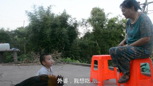 两岁小孩想吃鸡,对外婆说:看,有飞碟!趁外婆抬头抱着鸡就跑