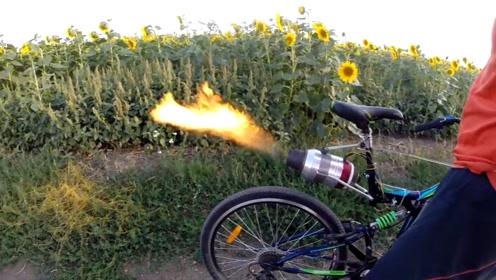 加了喷气式发动机的自行车,油门一拧怕不是直接跑没影了
