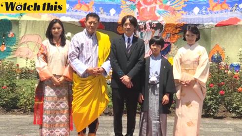 不丹国王携貌美王后接待日本亲王一家 小王子随父体验传统弓术