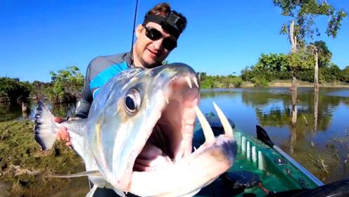 原始野河钓到罕见大鱼,男子抱起一看,吓坏了!