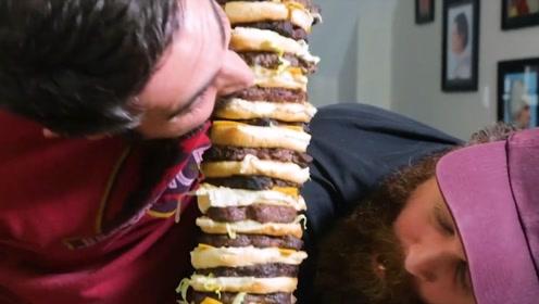 用200片芝士制作一人高汉堡,这才叫全家套餐,不怕吃不饱了