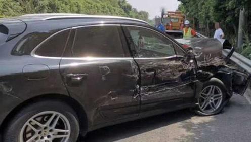 他开保时捷高速打瞌睡撞车,车头损毁:修车一二十万