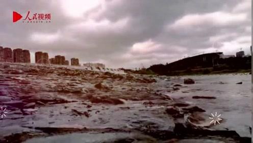 """受台风""""白鹿""""影响,福建省福清市刮起大风"""