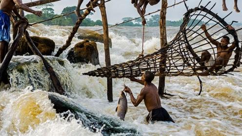 非洲穷人怎样捕鱼?看到这奔流不息的河水,网友:我宁愿饿肚子