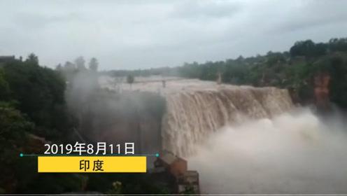 印度南部连日暴雨引发山洪 水流一泻千里,网友:瀑布!