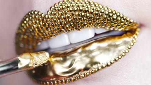 """世界上最奢侈的口红,美女在嘴上涂满""""黄金"""",镶满圆钉太惊艳!"""