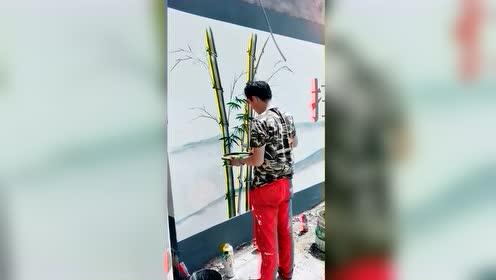 大叔不是学美术的,但是在村里画墙画,也锻炼出来了!