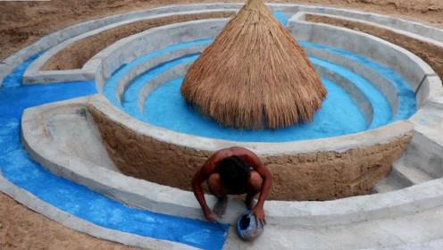 原始技术,野外建造高大上的游泳池,我也想去玩玩