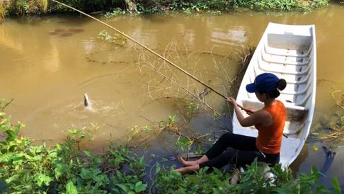 农村妹子河边钓鱼,大鱼一条接一条上钩,看得我很是羡慕!