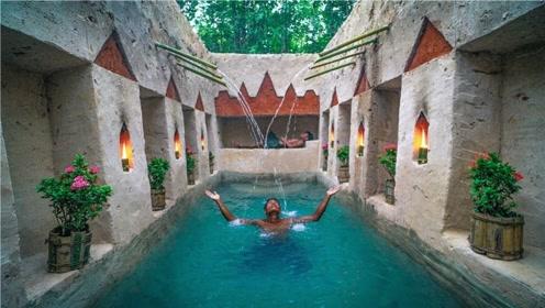农村小伙没钱在城里买房,野外建古罗马房屋,还自带喷泉泳池