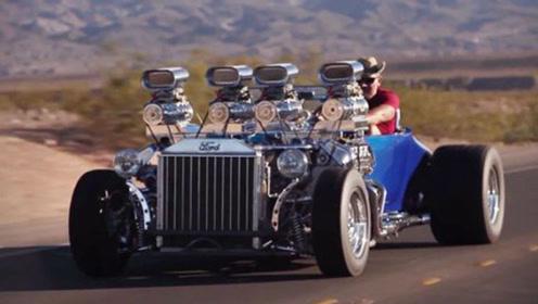 老外改装90年前的老爷车,装上两台V8引擎,老爷车还能这么猛
