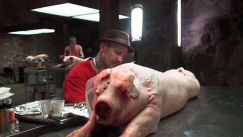 艺术家在猪身上纹身,猪的身价直接上涨,网友:这猪肉吃不起!