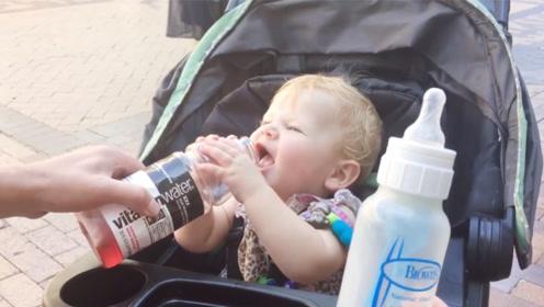 萌宝果断放弃奶瓶,直奔它!妈咪:维他命水!