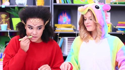 姐妹俩脑洞大开将零食做成文具的样子,糖果铅笔,老师也发现不了