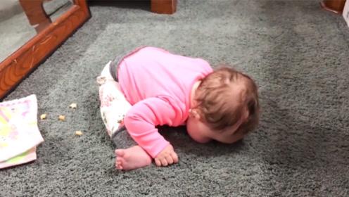 弄啥嘞?萌宝告诉你,地板会主动亲你哦!