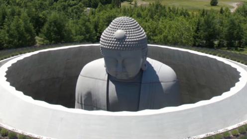 日本公墓惊现神秘大佛,只看到半个佛头,每天上万游客参拜