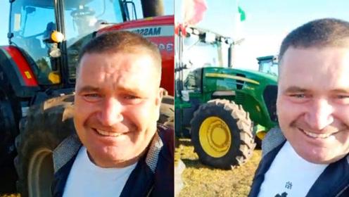 俄罗斯族农民逛丰收节,看到农机笑得像孩子:对这东西没有抵抗力