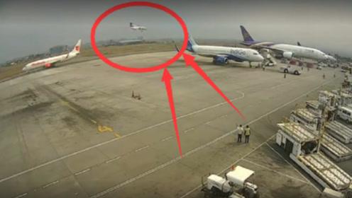 机场人员在工作,突然发现空中客机不对劲,下一秒意外发生了