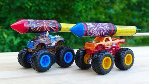用鞭炮能助推玩具车吗?老外脑洞测试,结果让人看懵!