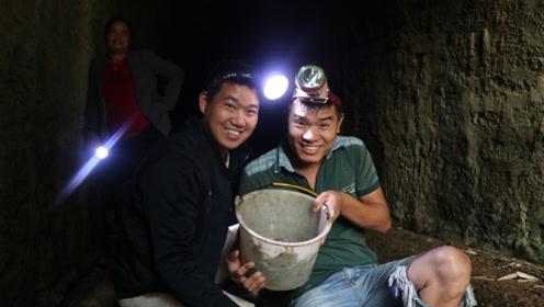 小农乡约鱼哥进山洞,洞里动静真不小,徒手抓了3斤野货,过瘾