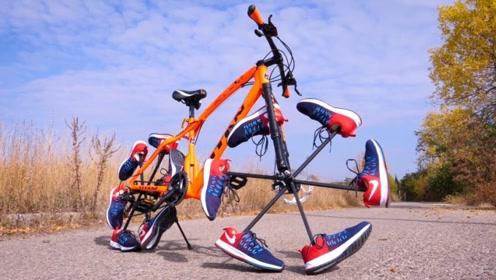 小伙用12只鞋子打造的自行车轮胎,真的可以骑行吗?