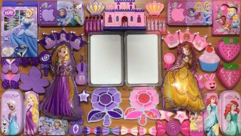 DIY梦幻紫VS芭比粉,两种不同颜色的材料,制作史莱姆