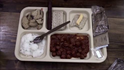 美军意式番茄肉丸单兵自热军粮,番茄肉丸配奶油土豆泥,很不错!