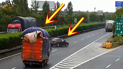 轿车错过路口,大货车饶他一命,谁知他却作死到底!