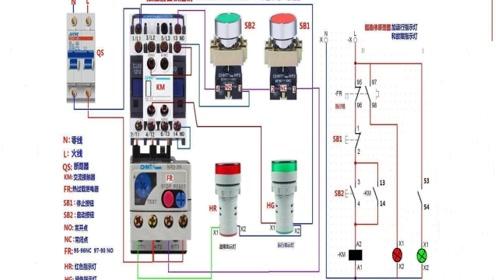 电工知识:如何在电路中,加装运行指示灯和停止指示灯,实物讲解
