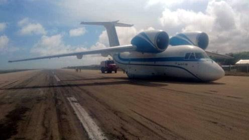 现场实拍:安-74运输机起落架故障在索马里首都迫降