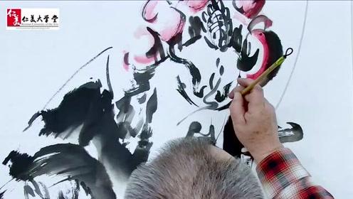 水墨戏画美鬓公 看李明臣先生挥毫泼墨 京剧与国画完美结合