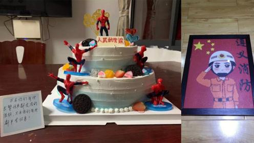暖到了!群众给消防员小哥哥送蜘蛛侠蛋糕:只求你们平安归来