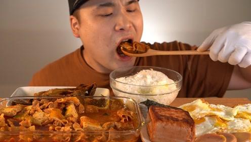 随心吃美食:吃美味炖猪肉 泡菜 米饭