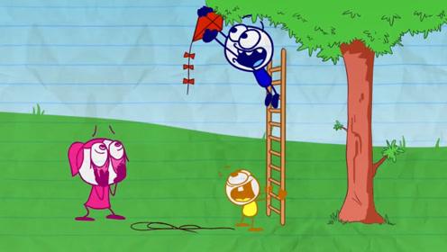 风筝被挂在了树枝上,小伙自告奋勇爬了上去,结果却哭了!