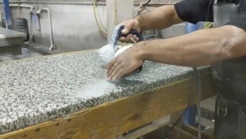 德国师傅花岗岩上切一个底部水槽口,这个技术怎么样