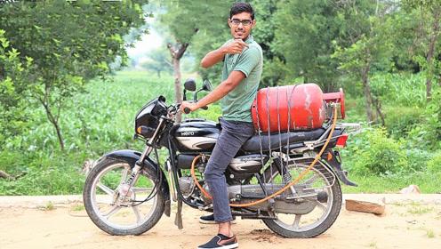 小伙用煤气罐改装摩托车,以为能弹射起步,拧下油门后悲剧了