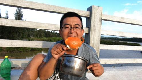 渔夫环海南岛赶海第一站,陌生海域照样丰收,现抓现煮美味无穷